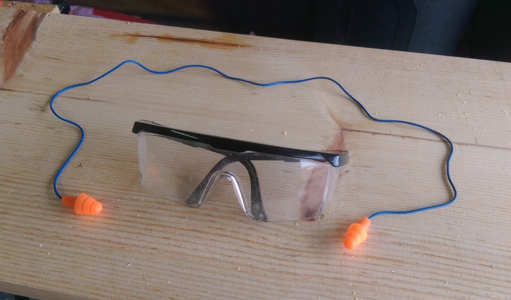 Safety Glasses and Ear Plugs for Sawing