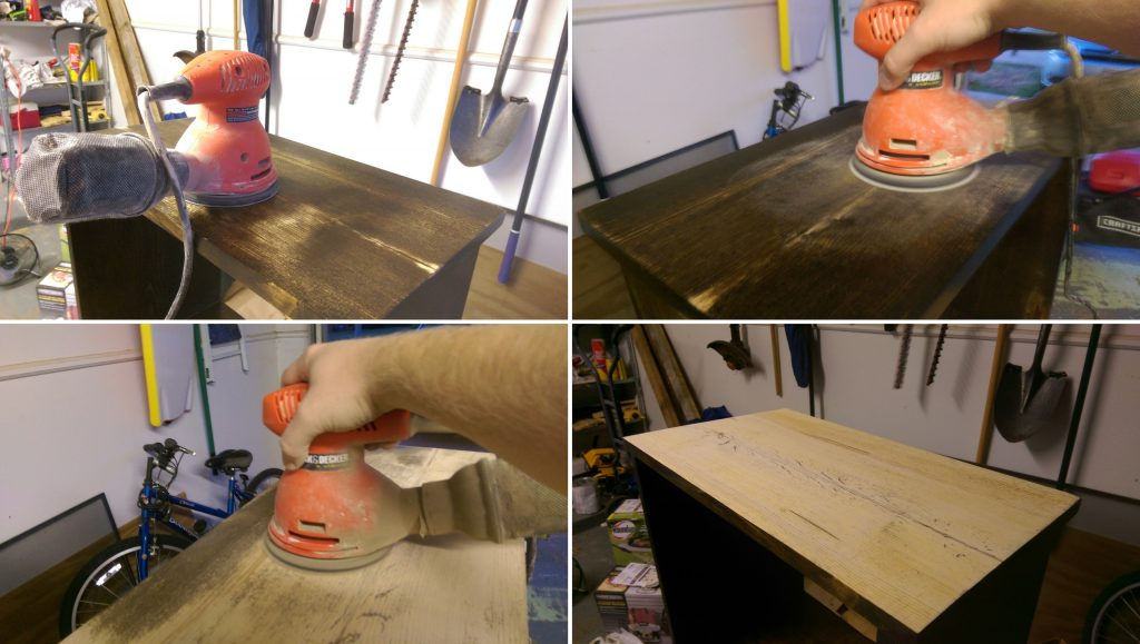 Sanding Top of Night Stand for Re-finishing