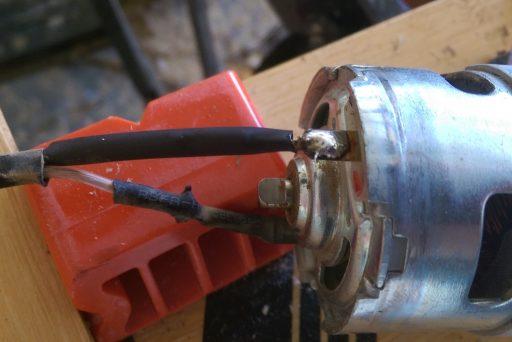 Battery String Trimmer Motor after Solder Repair