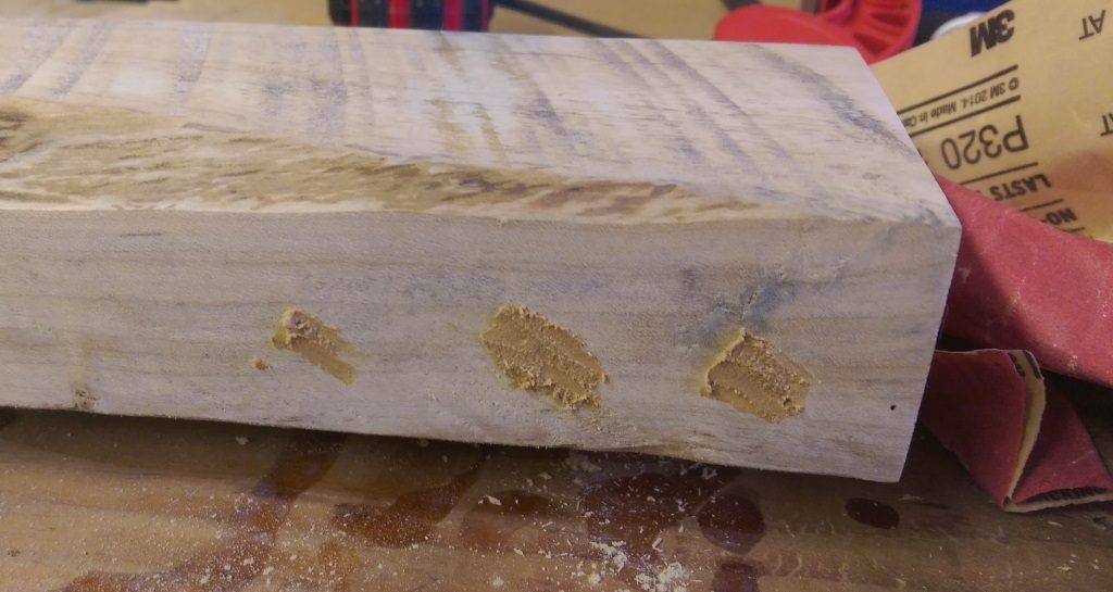 Nail Holes Filled with Homemade Wood Filler