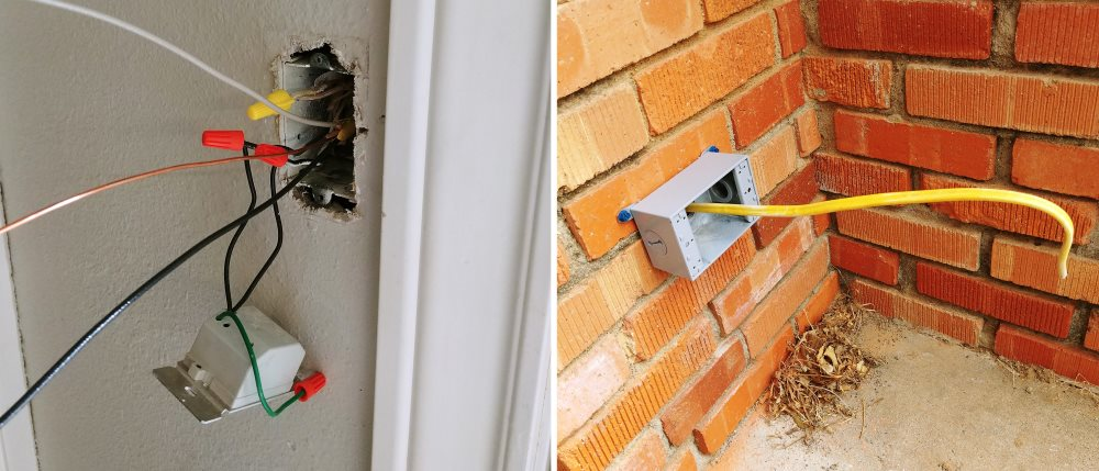 Add an exterior outlet on a brick house homediygeek exterior outlet cable installed solutioingenieria Gallery