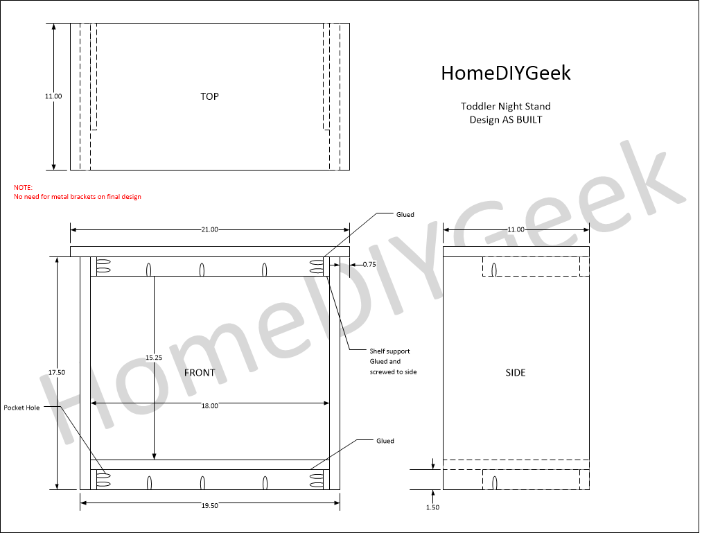 Toddler Bed Night Stand As Built Diagram