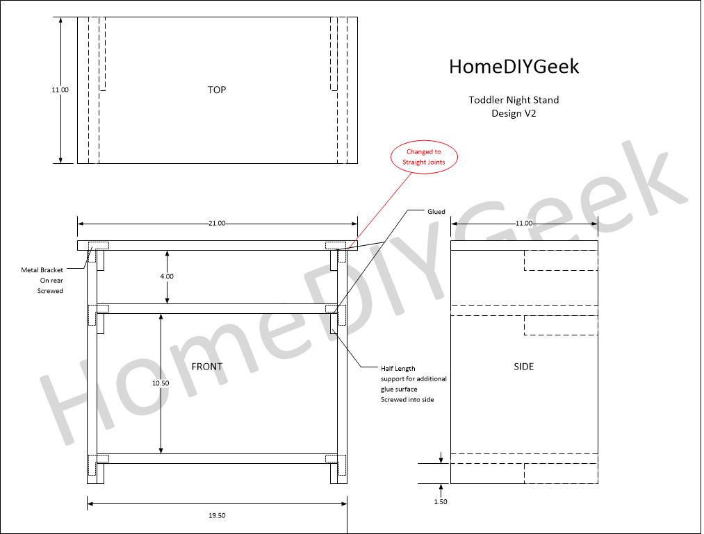 Toddler Bed Night Stand Design V2