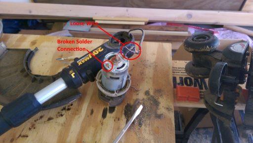 Battery String Trimmer Broken Solder Connection to Motor