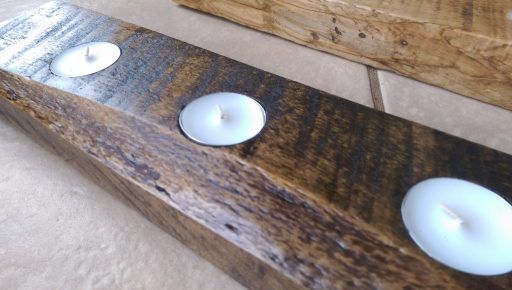 Finished Reclaimed Wood Tealight Candle Centerpiece