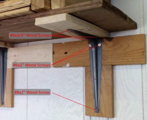 Garage Shelf Bracket Screws Annotated