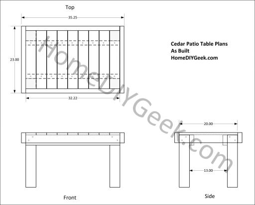 Cedar Patio Table Drawing As Built