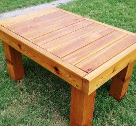 Cedar Patio Table Completed