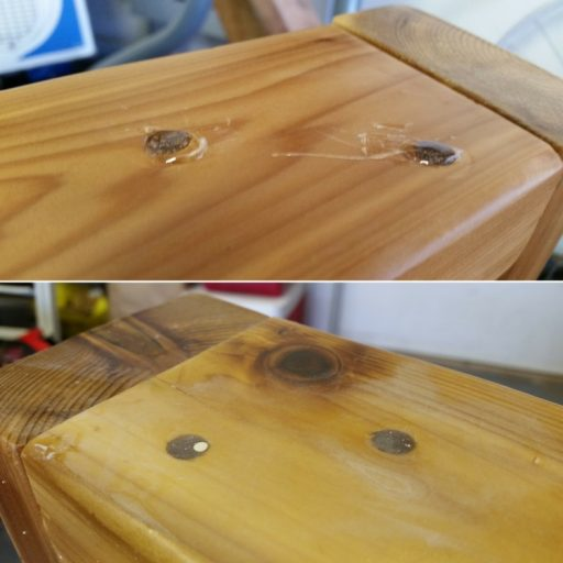Screw Holes Filled With Epoxy